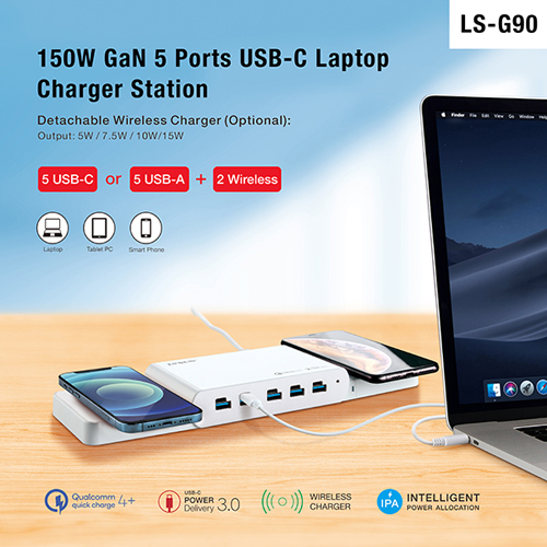 150W 5-Port USB-C Charger