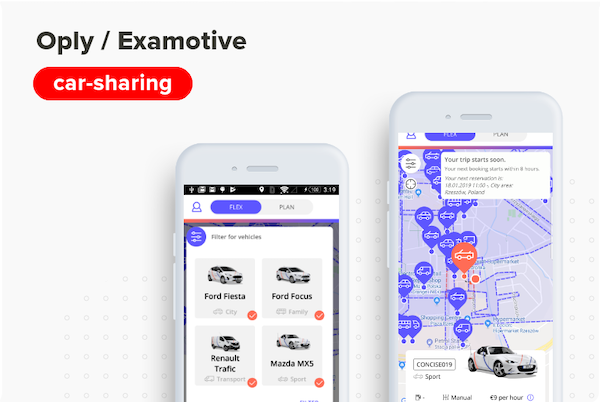 Car-sharing mobile app for Oply / Examotive